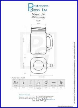 450ml Mason Jars with handle (Inc Caps and Straws) (Brand New)