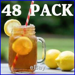 48 CASE 16 Oz Glass Mason Canning Drinking Jar with Handle Bar Beer Restaurant
