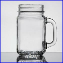 48 Case 16 Oz Clear Glass Mason Canning Drinking Jar Handle Bar Beer Restaurant
