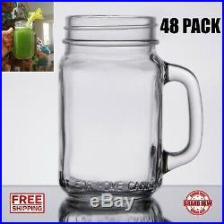 48 Case 16 Oz Glass Mason Canning Drinking Jar with Handle Bar Beer Restau CPS