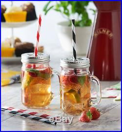48 Piece Kilner Clear Summer BBQ Party Glass Handled Drinks Mug Jars With Lid