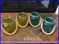 4 Glass Jars With Handle, Home Decor, 2 Blue Jars & 2 Green Jars
