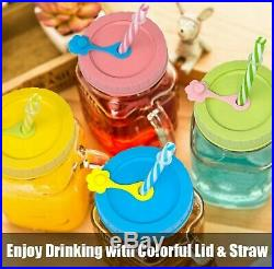 4 Glass Mason Jar Mugs 16oz With Handle 4 Plastic Lids with Straw hole Stoppers