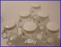 4 Harvest Salt'n Pepper Glass Shaker set Four little Mug Jars w handle