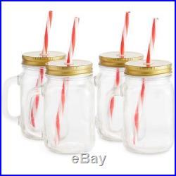 4 Mason Glass Drinking Jar Straw Jars Handle Glasses Lid Set Jam Clear