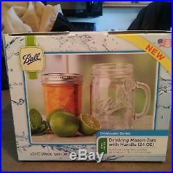 4 Mason Jar With Handle Mug Rustic Bridal Wedding Drinking Clear Glass 24 OZ New
