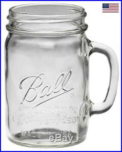 4 Pack Ball 1-1/2 Pint Clear Mason Jars Party Drinking Mug Glasses WithHandle 24Oz