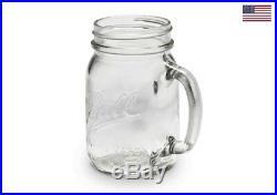 4 Pack Ball Pint Clear Mason Jars Party Drinking Mug Glasses With Handles 16Oz Jar