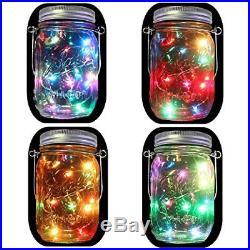 4-Pack Solar Powered Mason Jar Lights Mason Jar & Handle Included5 Colors 10