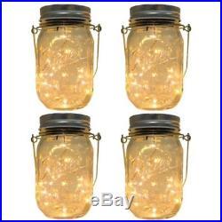 4-Pack Solar-Powered Mason Jar Lights (Mason Jar & Handle Included), 10 Bulbs