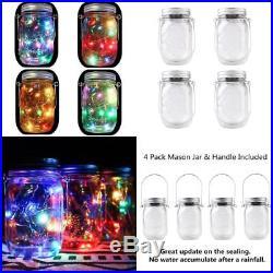 4-Pack Solar Powered Mason Jar Lights (Mason Jar & Handle Included), 5 Colors