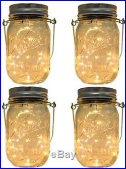 4-Pack Solar-powered Mason Jar Lights (Mason Jar and Handle Included), 10 Bulbs