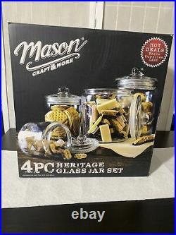 4 Pc Heritage Glass Jar Set, Mason Craft And More Storage Glass