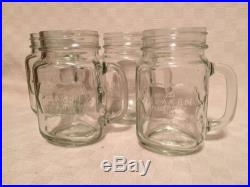 (4) The Kraken Black Spiced Rum Jar Mug Glasses withHandle, Mason Jar Style, Pint