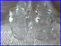 4 Vintage Golden Harvest Drinking Jar Glass Mugs With Handle 32oz Regular Mouth
