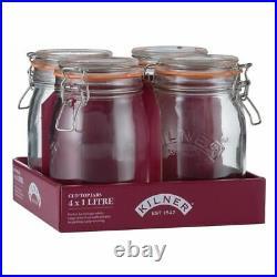 4x Kilner Clip Top Round Jar 1L Tray Of 4 0025.022