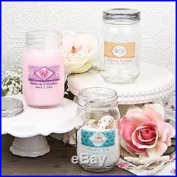 50 16 oz Personalized Glass Mason Jar w Handle & Screw Top Free US Shipping