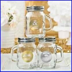 50 Personalized Themed Metallics Glass Mini Glass Mason Candy Jar Wedding Favors