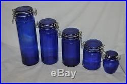 5 PIECE cobalt blue glass wire handles white seals CANISTERS STORAGE JARS EUC