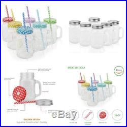 6Pcs 16oz Glass Mason Jar Set Handled Lidded Tumbler Glasses And Straws BPA Free