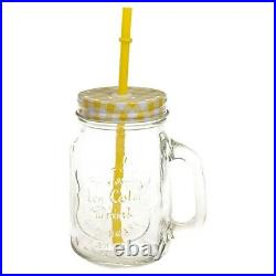 6 12 x 500ml Drinking Cocktail Glasses With Handle & Straw Mason Jars Retro Cups