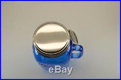 6 Mason Craft & More 32 Oz. Large Glass Mason Jar Mug Handle Lid Dark Blue New