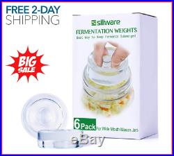 6-Pack Easy Fermentation Glass Weights with Handles for Any Wide Mouth Mason Jar