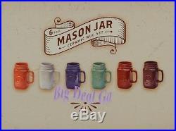 6pc Mason Jar Ceramic Stoneware Mug Set with Handles New