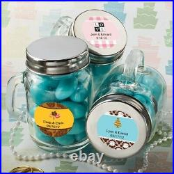 70 Personalized Themed Mini Glass Mason Candy Jars Wedding Bridal Shower Favors