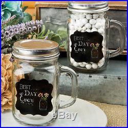72'Best Day Ever' 12 oz Glass Mason Jar with Handle Wedding Shower Favor