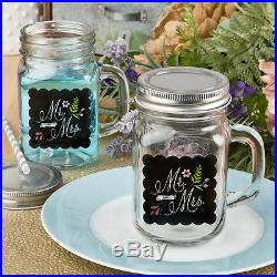 72'Mr & Mrs' 12 oz Glass Mason Jar with Handle Wedding Shower Favor
