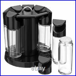 8 Jar Revolving Spice Rack Herbs Stand Glass Kitchen Storage Rotating Holder Set
