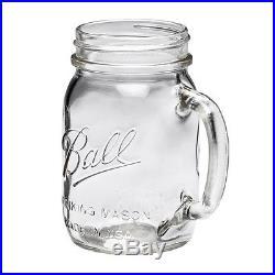 8 Pack Ball Pint Clear Mason Jars Drinking Mug Glasses with Handles 16 Oz New
