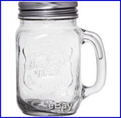 8 set Rustic Mason Jars 16 oz Mug Drinking Glasses with Handles Log Cabin Large