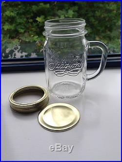 96x Mason style handled drinking jars including Caps (Brand new)