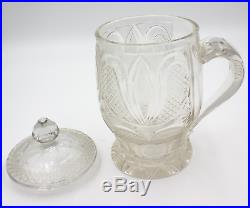 ANTIQUE CUT CRYSTAL BISCUIT JAR WITH HANDLE- Engraved A. S. Deu 23 Maerz 1841