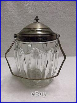 ANTIQUE ENGLISH CUT BISCUIT BARREL SILVER PLATE LID AND HANDLE ca. 1900