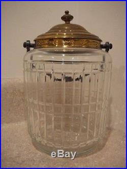 Antique Victorian Cut Glass Abp Cracker Biscuit Jar Silver Top Floral Handle