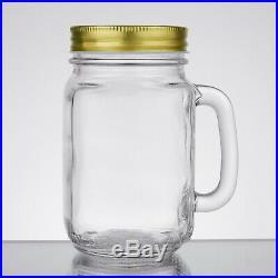 Acopa 16 oz. Mason Jar / Drinking Jar with Handle and Gold Metal Lid