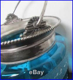 Aesthetic Victoian Silverplate Hand Painted Blue Glass Handled, Cover Jar