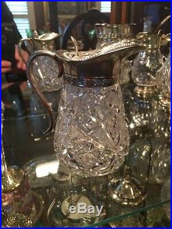 American Brilliant Cut Glass Syrup Jar With Silver Plated LID & Handle