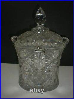 American Brilliant Double Handled Glass Covered Biscuit Jar