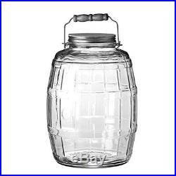 Anchor Hocking 2.5 gal. Glass Barrel Jar Gallon Brushed Aluminum Handle Large