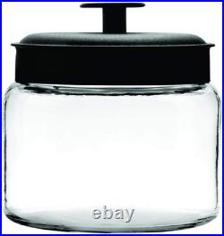 Anchor Hocking Montana Glass Jars with Fresh Sealed Lids, Black Metal, 64 oz Set