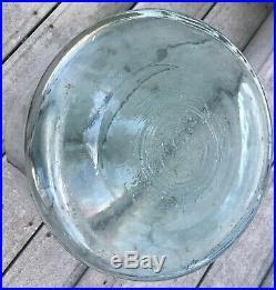 Antique 1927 Aqua Blue Glass 5 Gallon Wood Bail Handle Pickle Jar General Store