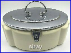 Antique 1930's German Art Deco Biscuit Barrel Handled & Hinged Cream & Chrome