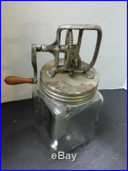 Antique 3 Quart Dazey Butter Hand Churn Cast Iron Wood Handle Glass Jar Metal