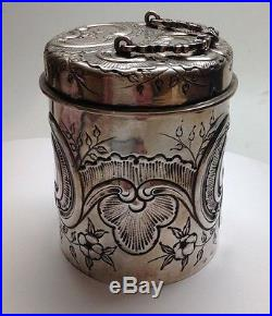 Antique 800 Silver Handled Lid Canister Jar With Flower Motif, Made In Germany