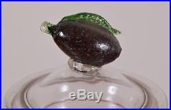 Antique AMONIO Label Glass Apothecary Jar Hand Blown Fruit Handle Pontil