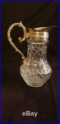 Antique Abp Cut Glass Water/milk Pitcher Silver Top Handled Kitchen Ware Jar
